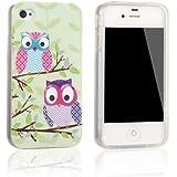 tinxi® Design Schutzhülle für Apple iPhone 4 4S Hülle TPU Silikon Rückschale Schutz Hülle Silicon Case zwei Eulen Owl auf einem Ast
