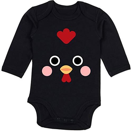 Shirtracer Karneval und Fasching Baby - Hahn Kostüm - 6-12 Monate - Schwarz - BZ30 - Baby Body (Baby Hahn Kostüm)