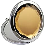 Leex Group Double Sides (One Is Normal,Another Is Magnifying)Portable Foldable Pocket Metal Makeup Compact Mirror Woman Cosmetic Mirror (Coffee)