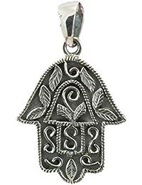 KASKOTE- Colgante Mano de Fátima en Plata 9.25. Amuleto protector.36X23MM