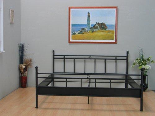 sale dynamic24 metallbett bett 140x200 schwarz doppelbett ehebett jugendbett landhaus stil. Black Bedroom Furniture Sets. Home Design Ideas