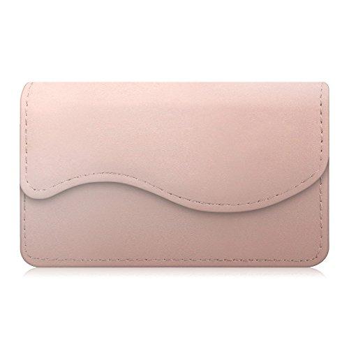 Kreditkartenetui/Visitenkartenetui, Fintie Premium Kunstleder handgefertigte Kartenetui Organisator Halter Taschen mit Magnetverschluss, Roségold