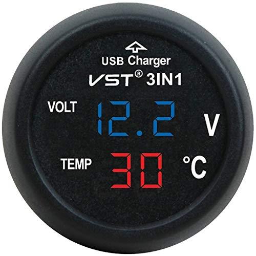 Mnszhf tester per display lcd digitale per caricabatterie usb per auto 3 in 1 con strumento misuratore di tensione e temperatura, blu