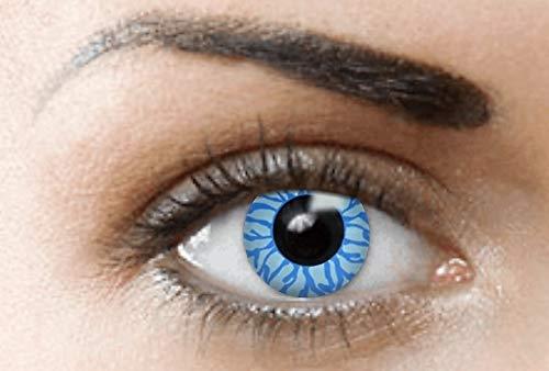 ige Kontaktlinsen, Ohne Stärke (BLUE ANGEL/DÄMON) Blau Devil perfekt zum Halloween und Karneval, Jahres Linsen, 1 Paar crazy fun Contact linsen + Kontaktlinsenbelälter! ()