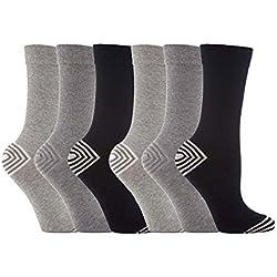 Jennifer Anderton - 6 pares Mujerseñoras del diseñador calcetines superiores de ancho con suave agarre de múltiples colores 37-42 (Gris mono raya JA64)
