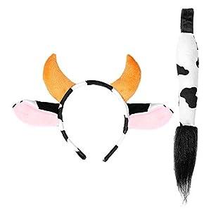 WIDMANN 09736 - Juego de accesorios para el pelo, diseño de vaca, color blanco y negro, talla única