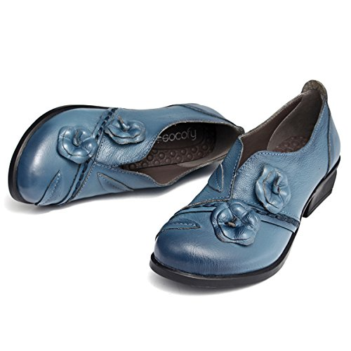 Socofy Damen Pumps, Damen Leder Slipper Mokassins Blume Loafers Metallic Ballerinas Vintage Halbschuhe Slip-On Freizeit Leder Herbstschuhe Blockabsatz Blau 40 - 4