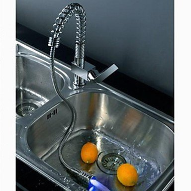 SHUYOU® Charmingwater Contemporary Brass Chrome Finish Single Handle Put Out LED Kitchen faucet