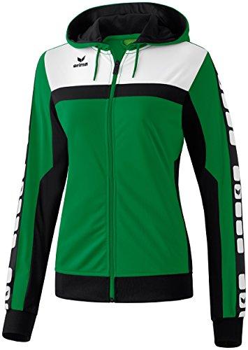 erima Damen Sportsjacke 5-C Trainings mit Kapuze Sportjacke, Smaragd/Schwarz/Weiß, 40