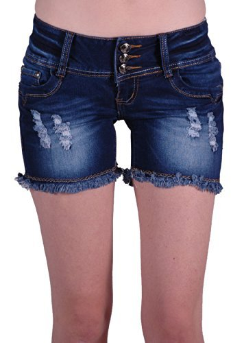 GL Jeans - Womens Denim Jean Shorts Ladies Stretch Hot Pants Size 10/M/38 (Denim Pocket Shorts Stitch)