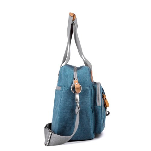 Eshow Borsa da donna a tracolla di tela casual blu