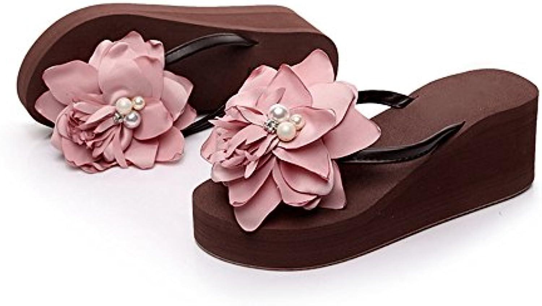 Sandals Sandals Sandals ZHIRONG High Heel Female Summer Non-slip Beach Shoes Seaside Thick Bottom Slippers (Color : B, Size :... e8e599
