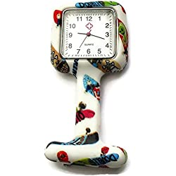 QBD Nurses Fashion Coloured Patterned Silicon Rubber Fob Watches - SQUARE Cartoon