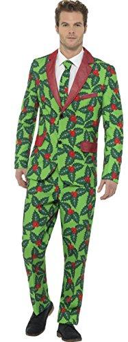 Fancy Ole - Herren Männer Weihnachts Kostüm Jacket Anzug Mistelzweig Print Krawatte , M, - Kostüm Lebkuchen Mann