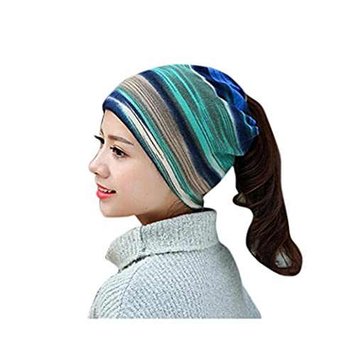 Ladies Beanie Hats, Transer® Women Stretchy Printing Turban Head Wrap Band Chemo Hat Bandana Pleated Caps Girls Solid Baggy Hood Cotton Hats (Blue)