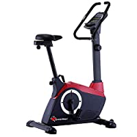 PowerMax Fitness Unisex Adult BU-800 Magnetic Upright Bike For Home Use - Red/Grey, Compact
