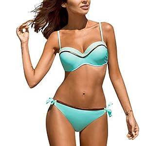 AMUSTER Damen Bandeau Bikini Badeanzüge mit Slip Damen Bikini Set Push up Badeanzug Zweiteilige Bandeau Bademode mit verstellbaren Träger