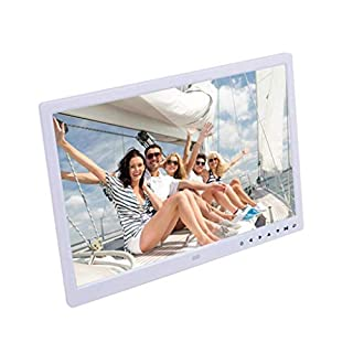 ANYU15.4 inch digital photo frame, button-type electronic photo album, motion sensor, display photo, high-definition touch player, publicity display video advertising machine (color: white), white