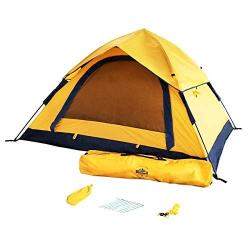 Lumaland Outdoor leichtes Pop Up Wurfzelt 3 Personen Zelt Camping Festival etc. 210 x 190 x 110 cm robust Gelb