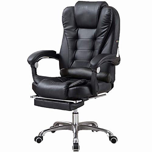 FZYQY Ergonomischer Bürodrehstuhl,PU Leder Hoher Rücken Computerspiel Stuhl mit Fußstütze und Roller - Höhenverstellbar,Zwei Punkt Massagefunktion (Schwarz)