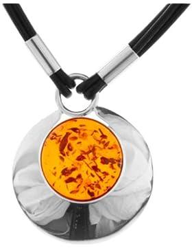 InCollections Damen-Collier 925/000 Sterlingsilber und Lederband 45 cm mit Bernstein 0010293034100
