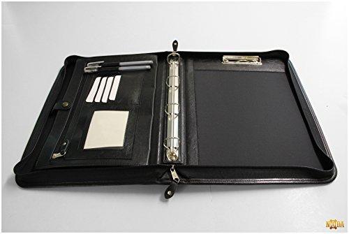 Noda Exclusiv A4 Schreibmappe mit Ringbuch, Taschenrechner, Reißverschluss, Lederoptik schwarz