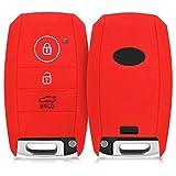 kwmobile Autoschlüssel Hülle für Kia - Silikon Schutzhülle Schlüsselhülle Cover für Kia 3-Tasten Smartkey Autoschlüssel Rot