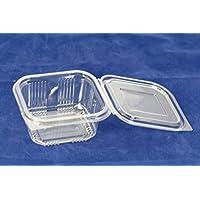 Recipientes de plástico desechables de 375ml con tapa, ideal para comida para llevar, ensaladas o comida rápida. 70unidades.