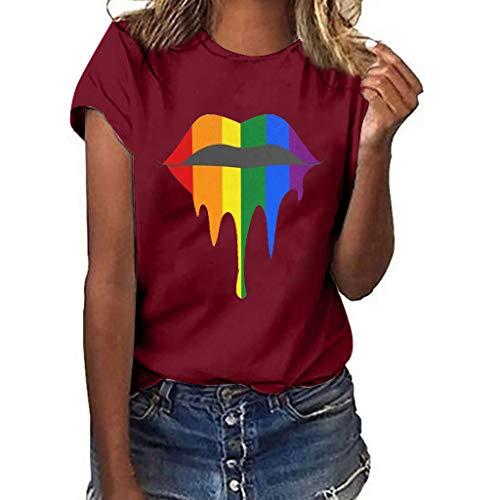 hen Plus Size S-3XL,Lips Print Shirt Kurzarm T-Shirt Bluse Tops Neon Kuss-Mund Lippen Shirts Girls Geburtstag-Geschenk Geil Bedruckt(Wein,XL) ()