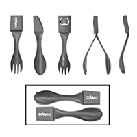 Colapz Twin Pack of 5-in-1 Camping Cutlery Set Spork - Equipment includes Knife - Fork - Spoon - Tongs - Bottle Opener - Lightweight Space Saving Heat Resistant Food Grade Plastic - UK design