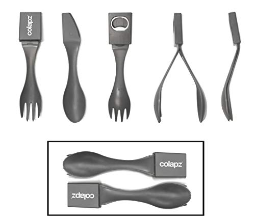 Colapz Twin Pack of 5-in-1 Camping Cutlery Set - Equipment includes Knife - Fork - Spoon - Tongs - Bottle Opener - Lightweight Space Saving Heat Resistant Food Grade Plastic - UK design