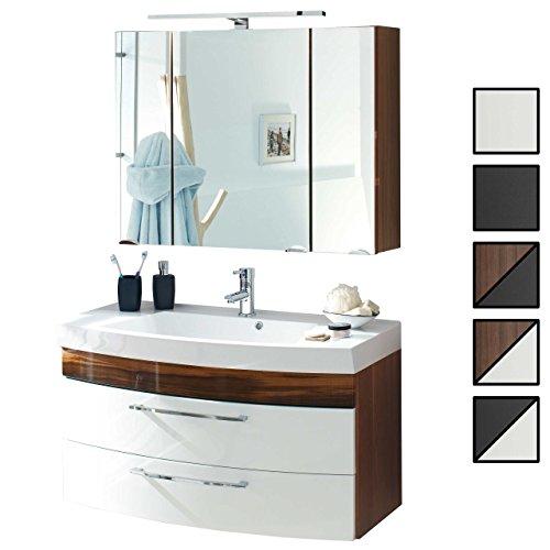 Badmöbel-Set VERONA Small Walnuss Weiß 2-tlg, Spiegelschrank 90 cm LED beleuchtet, Badezimmer Waschplatz 100 cm mit 2 Schubladen (Waschbecken + Waschtisch-Unterschrank)