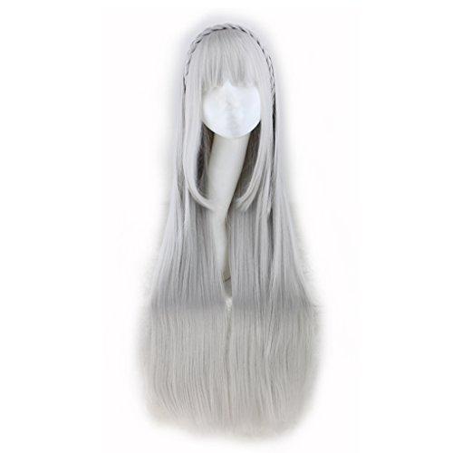 Befaith Frauen lange gerade silberne graue Braid Perücken Cosplay Party Halloween Perücke (Perücken Echte Graue)