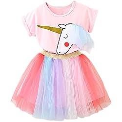 NNJXD Niñas Vestidos Unicornio Conjunto de Ropa de 2 Piezas con Chaquetas Rosas + Faldas de Arco Iris de tutú tamaño(120) 4-5 Años Rosa