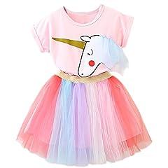 Idea Regalo - NNJXD Bambine Vestono Abiti Unicorno 2 Pezzi Top Rosa + Gonne Arcobaleno Dimensione(100) 2-3 Anni Rosa