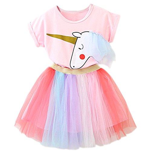 NNJXD Kleine Mädchen Kleider Einhorn 2 Stück Outfits mit rosa Tops + Regenbogen Tutu Röcke Größe(110) 3-4 Jahre Rosa