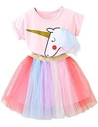 NNJXD - Vestido - para niña #1 Pink 5-6 Años