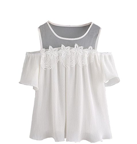 Kurzarm Shirt Damen Top, ZEZKT Damen Sommer Short Sleeve Off Shoulder Lace Striped Blouse (XXL) (Top Lace Striped)