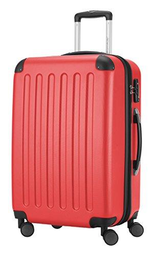 HAUPTSTADTKOFFER® Hartschalen Koffer SPREE 1203 · SET · MATT · TSA Zahlenschloss · + GEPÄCKGURT (Burgund) Rot