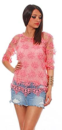 10490 Fashion4Young Damen Spitzenbluse Spitze Sommer Bluse Hemd mit Top Shirt 2 teilig 6 Farben 3 Gr. (S = 36, Coral)