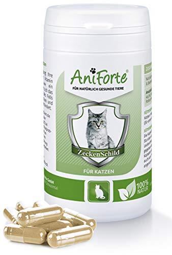 AniForte Zeckenschild für Katzen 60 Kapseln - Natürlicher Zeckenschutz, Abwehr gegen Zecken und...