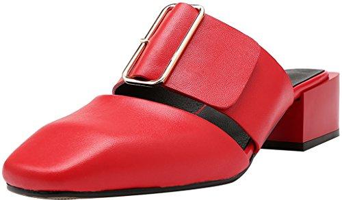 Calaier Femme Caswing 4.5CM Bloc Glisser Sur Mules et sabots Chaussures Rouge