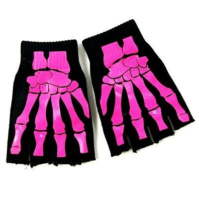e BONE HANDS black-pink (Skelett Handschuhe Knochen)
