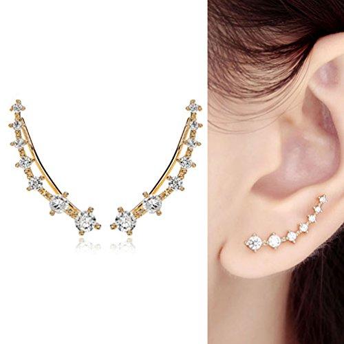 CIShop - Boucle d'oreille pour femme en oxyde de zirconium Golden stamp white