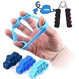 Kindax 3Pcs Finger Exerciser Elastici per L'allenamento delle Dita Plus 1 Hand Grip Pinza Mano Kit Perfetto per Rinforzare Dita, Polso e Avambraccio