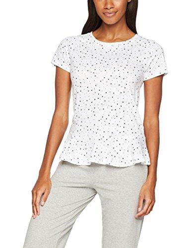 Iris & Lilly Damen Schlafanzugoberteil mit Schößchen, Weiß (White/Grey), X-Large