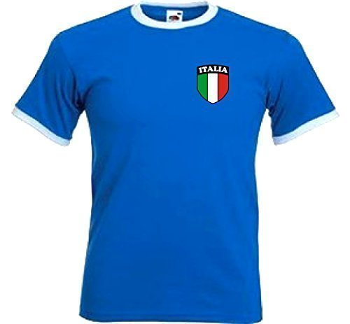 Italia Italiano Italia Retro Stile Nazionale Calcio Squadra T-Shirt Maglia - S