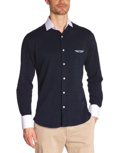 Fernand Bachmann Herren Business Hemden  ,Uni Blau (Marine)