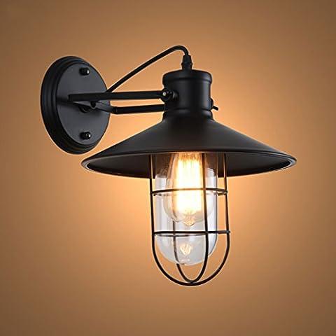 E27 Lamp Cap ohne Birnen Matte schwarz Bar Eisen Wand Loft Retro Industrie Schlafzimmer Nachttisch Außenleuchte Spiegel Eisen Lampe (Größe: Höhe 33cm, Durchmesser: 27cm)