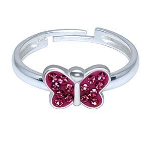 FIVE-D Damen- und Mädchenring Fingerring eleganter Mini Schmetterling Grösse einstellbar aus 925 Sterling Silber im Schmucketui